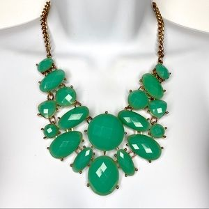 Jewelry - Gold Tone Green Multi Faceted Statement Necklace